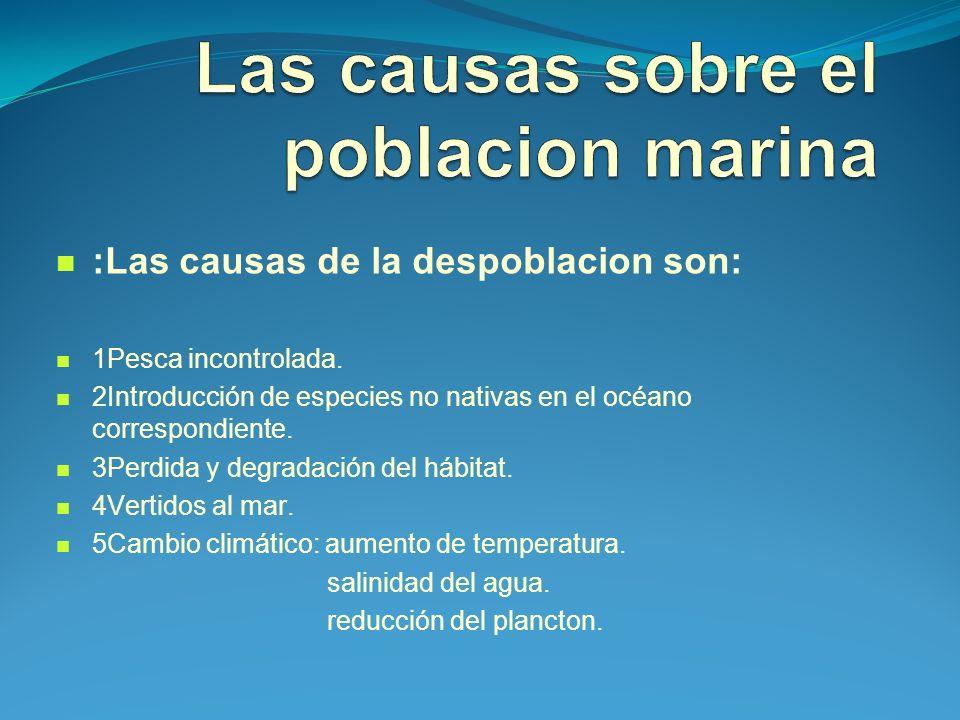 Las causas sobre el poblacion marina