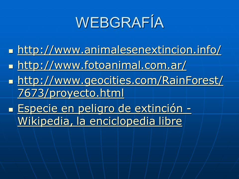 WEBGRAFÍA http://www.animalesenextincion.info/