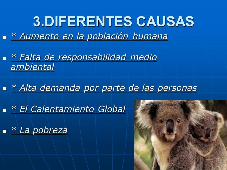 3.DIFERENTES CAUSAS * Aumento en la población humana