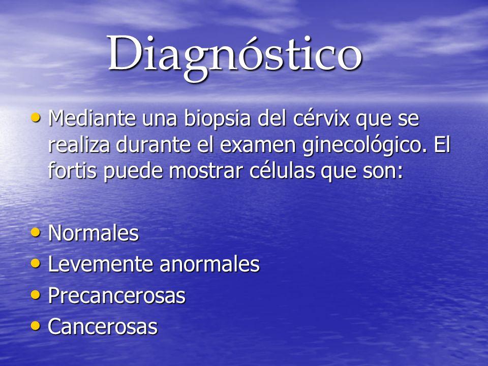 DiagnósticoMediante una biopsia del cérvix que se realiza durante el examen ginecológico. El fortis puede mostrar células que son: