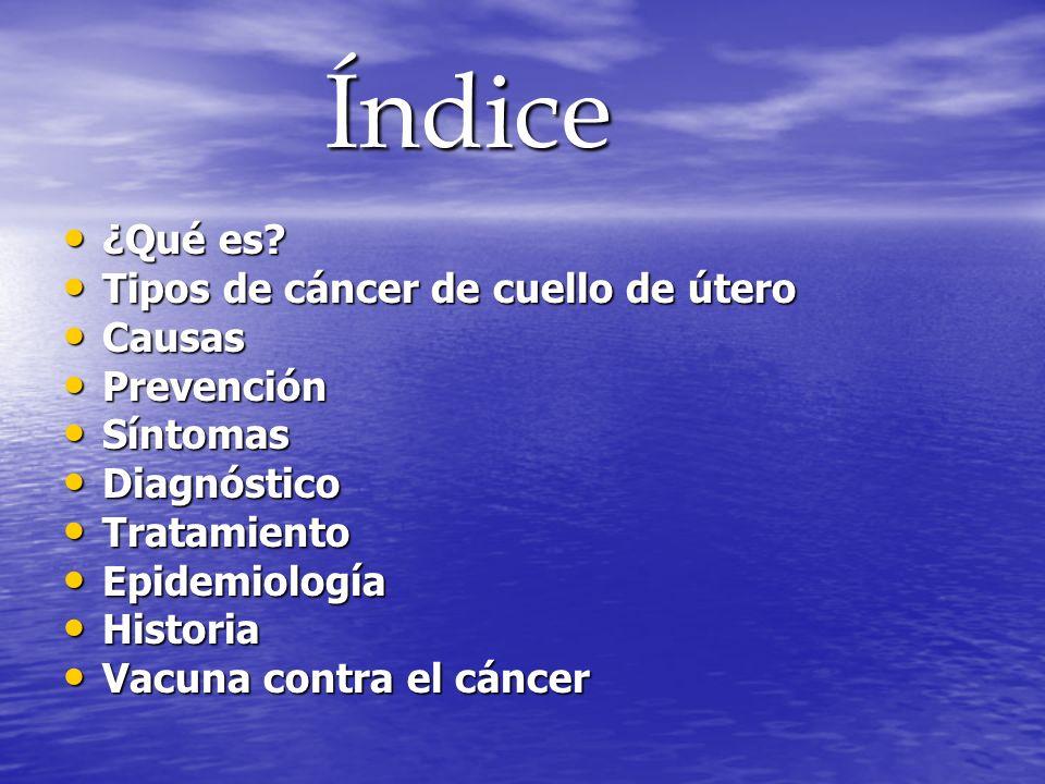 Índice ¿Qué es Tipos de cáncer de cuello de útero Causas Prevención