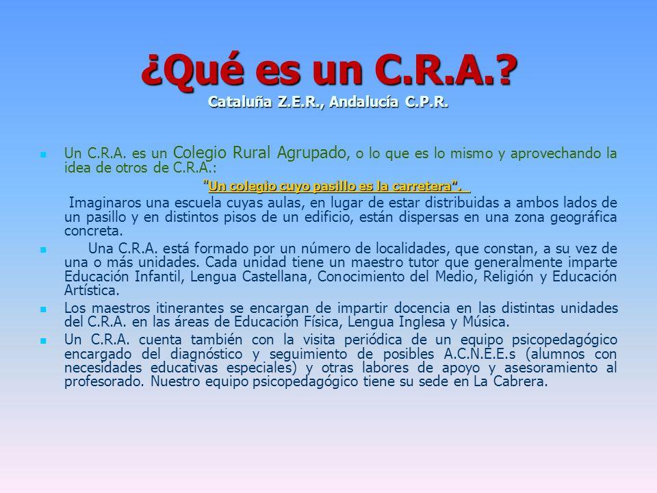 ¿Qué es un C.R.A. Cataluña Z.E.R., Andalucía C.P.R.