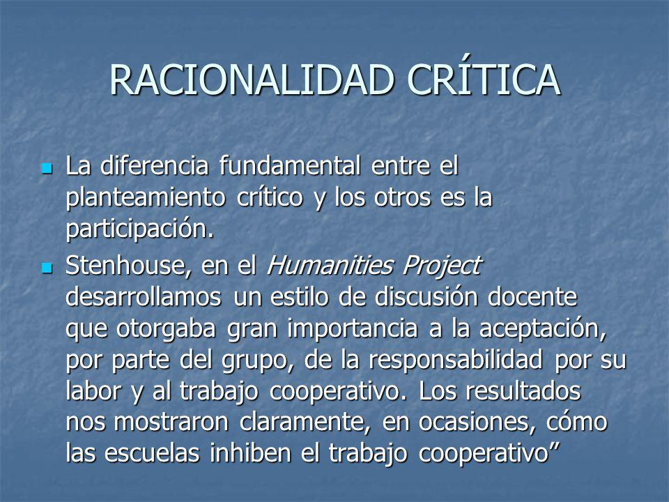 RACIONALIDAD CRÍTICA La diferencia fundamental entre el planteamiento crítico y los otros es la participación.