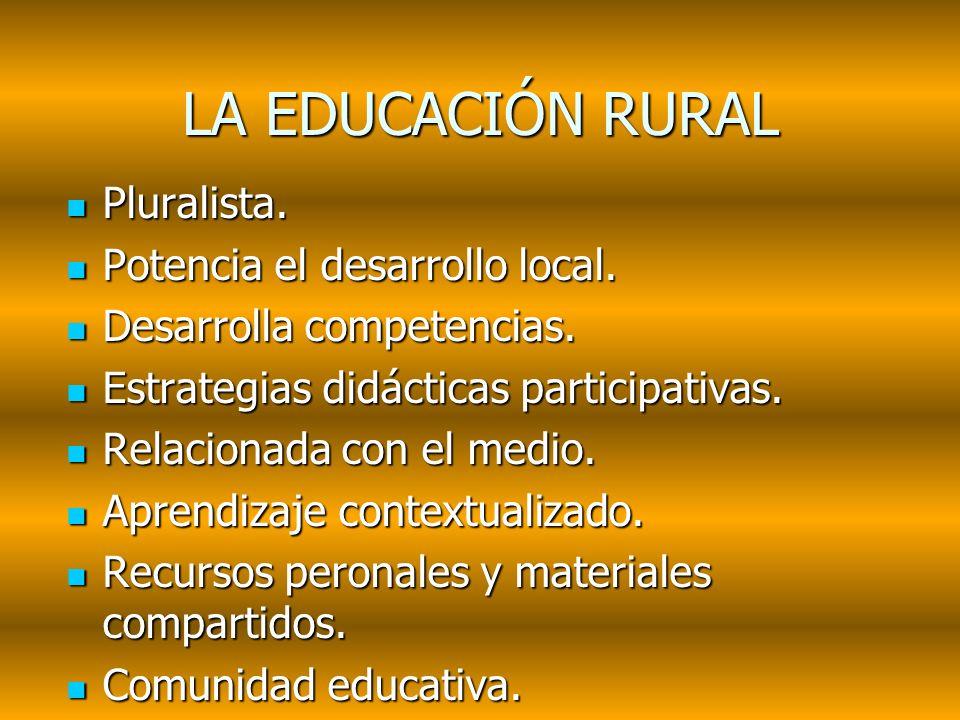 LA EDUCACIÓN RURAL Pluralista. Potencia el desarrollo local.