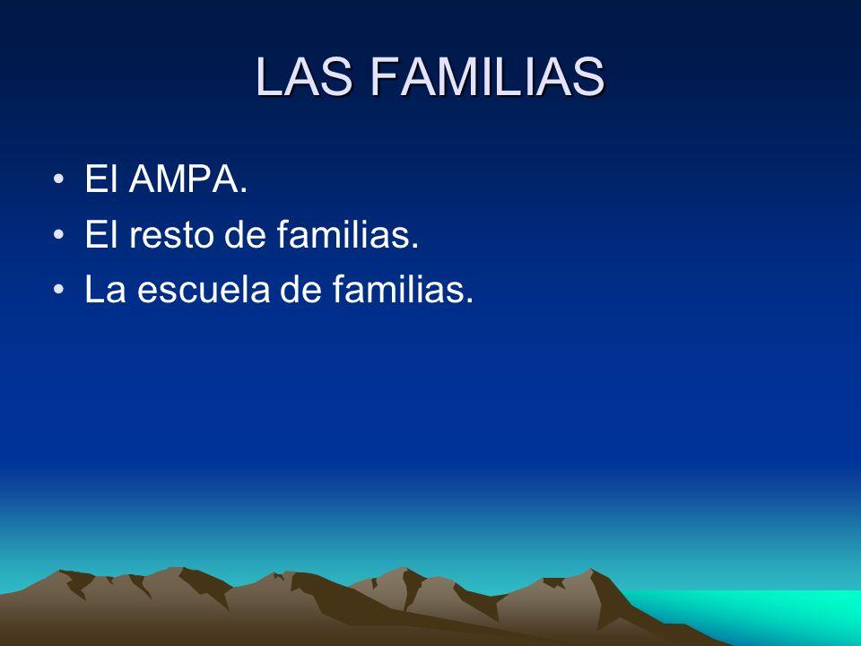 LAS FAMILIAS El AMPA. El resto de familias. La escuela de familias.
