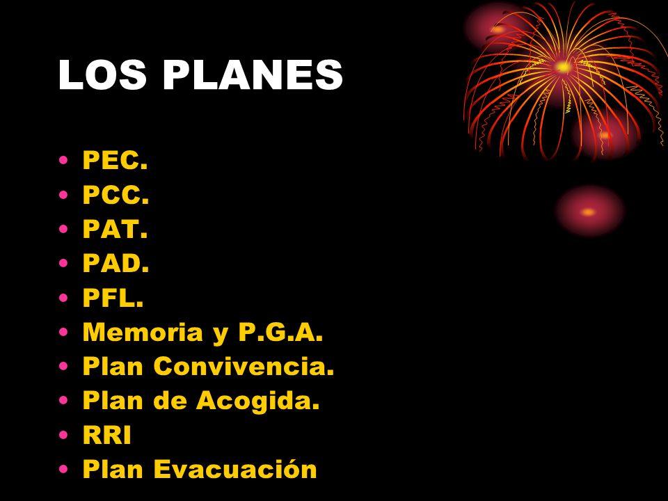LOS PLANES PEC. PCC. PAT. PAD. PFL. Memoria y P.G.A. Plan Convivencia.