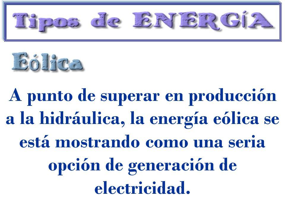 A punto de superar en producción a la hidráulica, la energía eólica se está mostrando como una seria opción de generación de electricidad.