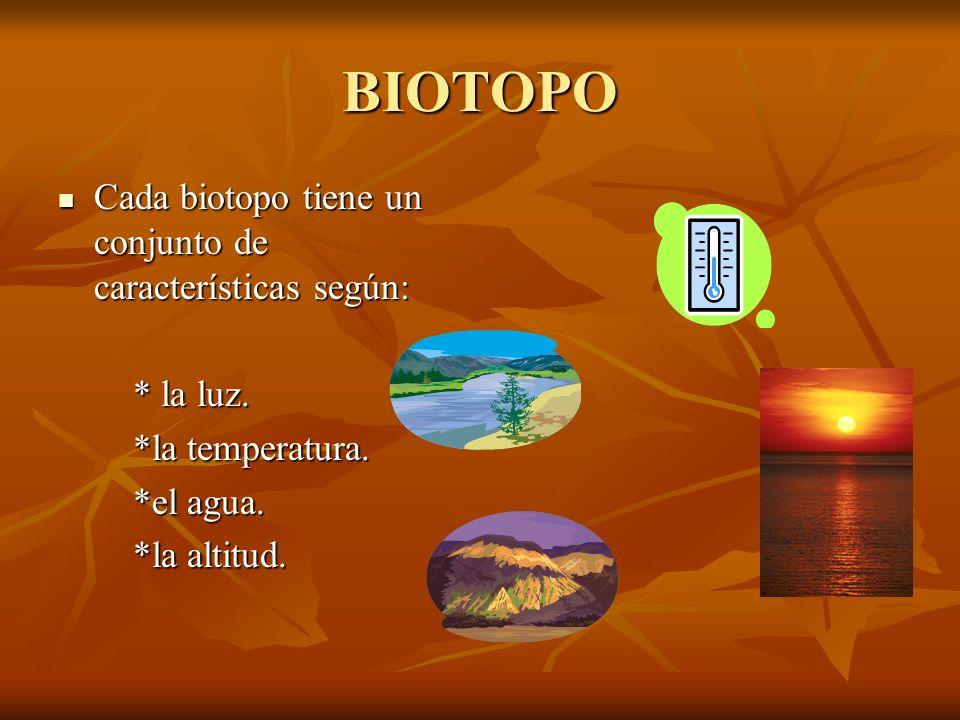 BIOTOPO Cada biotopo tiene un conjunto de características según:
