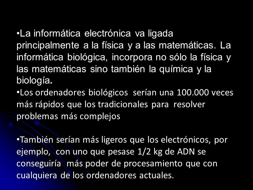 La informática electrónica va ligada principalmente a la física y a las matemáticas. La informática biológica, incorpora no sólo la física y las matemáticas sino también la química y la biología.
