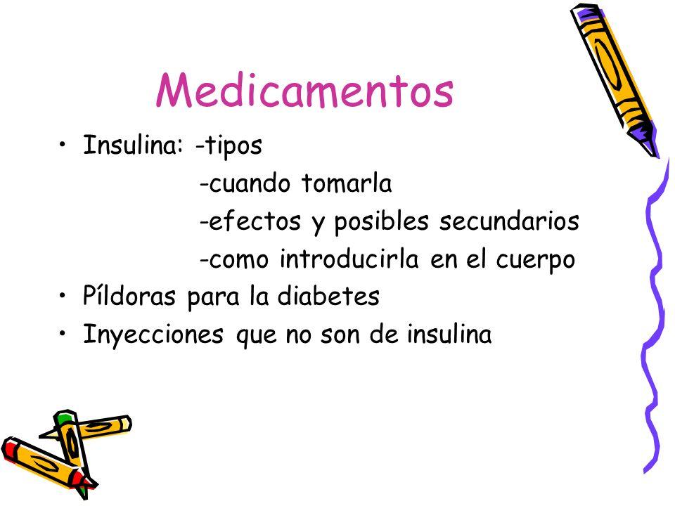 Medicamentos Insulina: -tipos -cuando tomarla