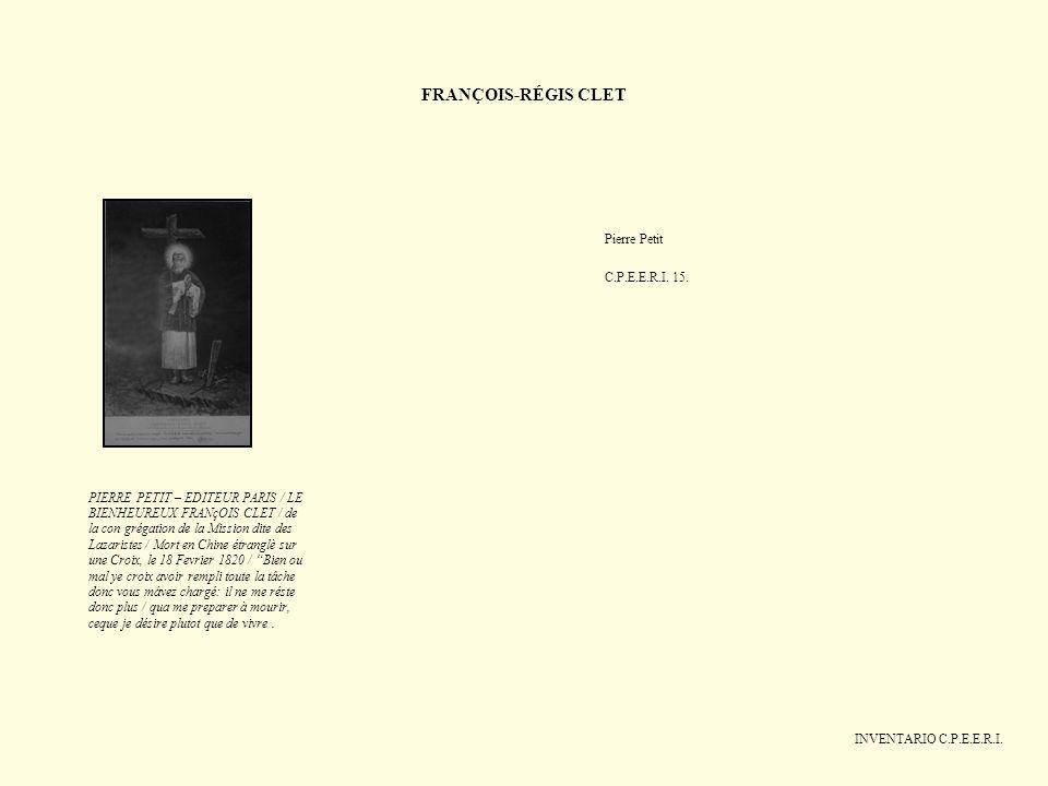 FRANÇOIS-RÉGIS CLET Pierre Petit C.P.E.E.R.I. 15.