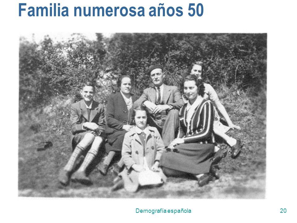 Familia numerosa años 50 Demografía española