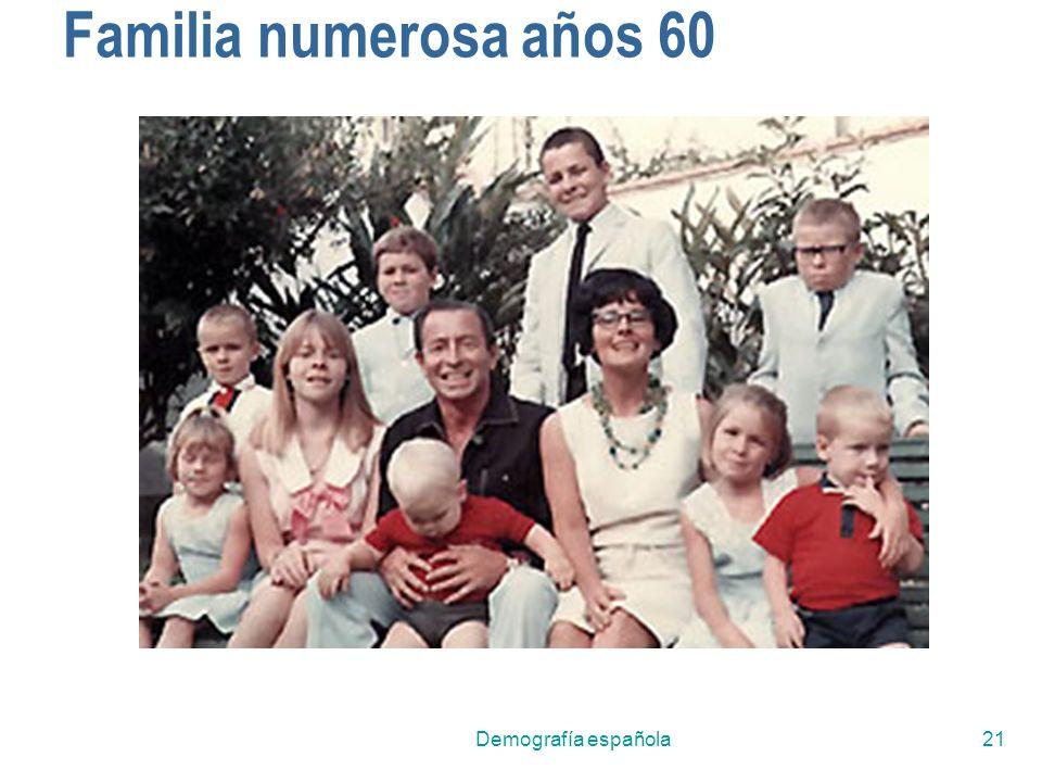 Familia numerosa años 60 Demografía española