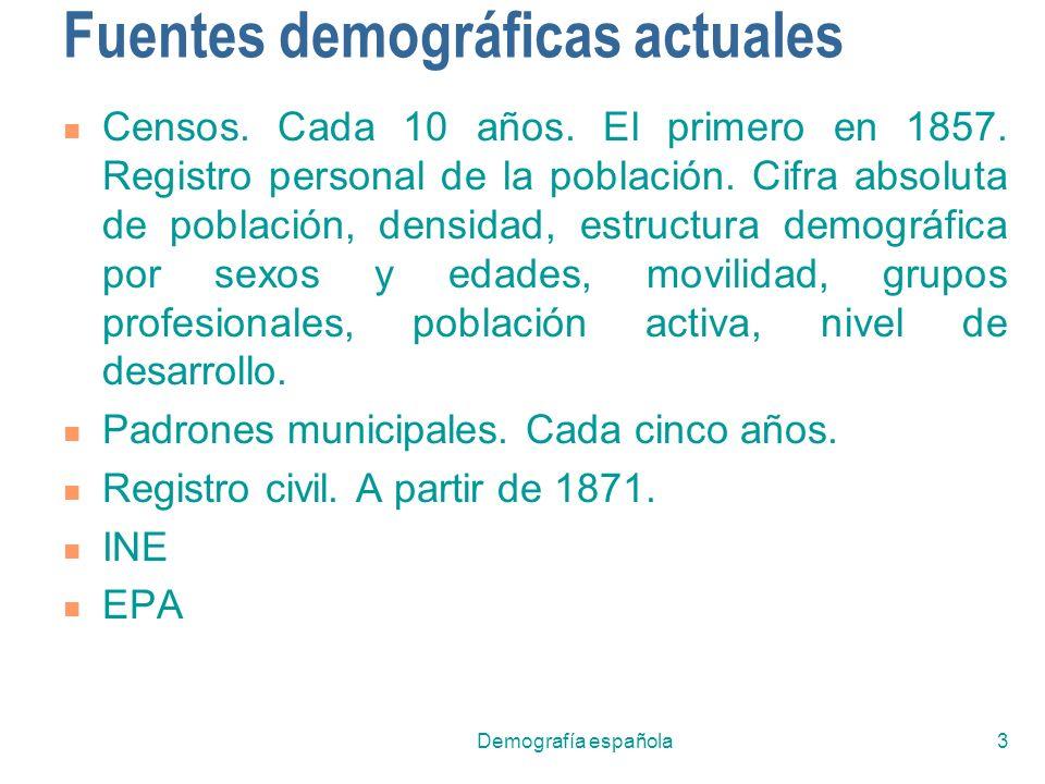 Fuentes demográficas actuales