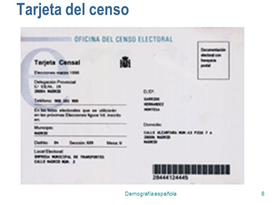 Tarjeta del censo Demografía española