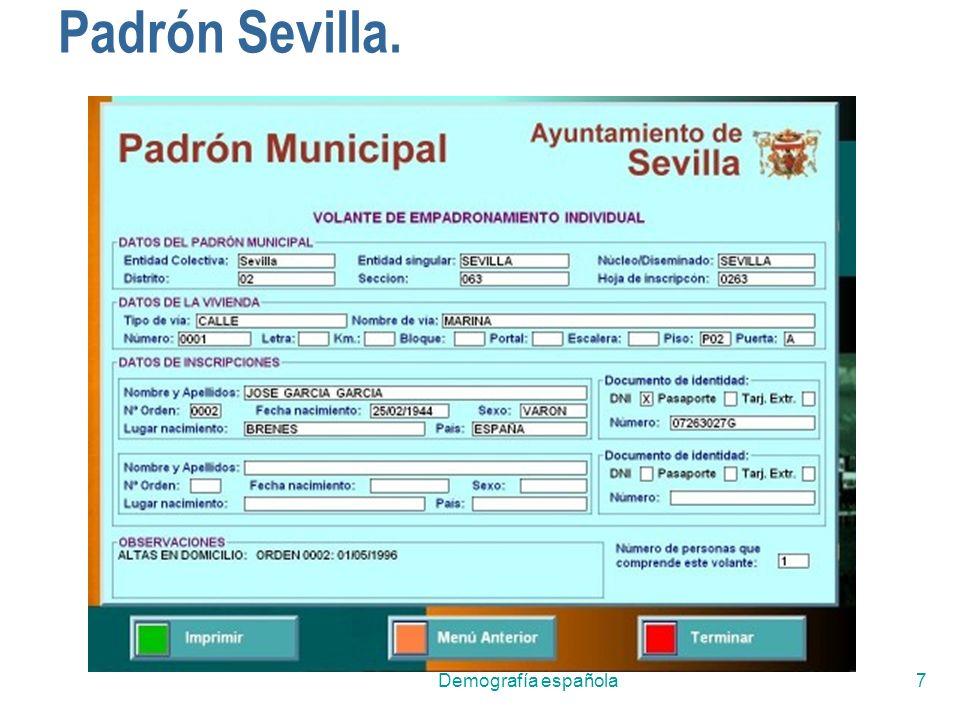 Padrón Sevilla. Demografía española