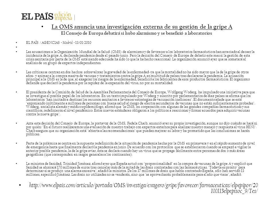 La OMS anuncia una investigación externa de su gestión de la gripe A