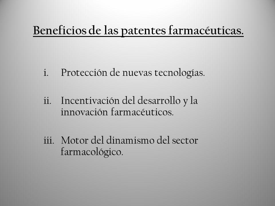 Beneficios de las patentes farmacéuticas.