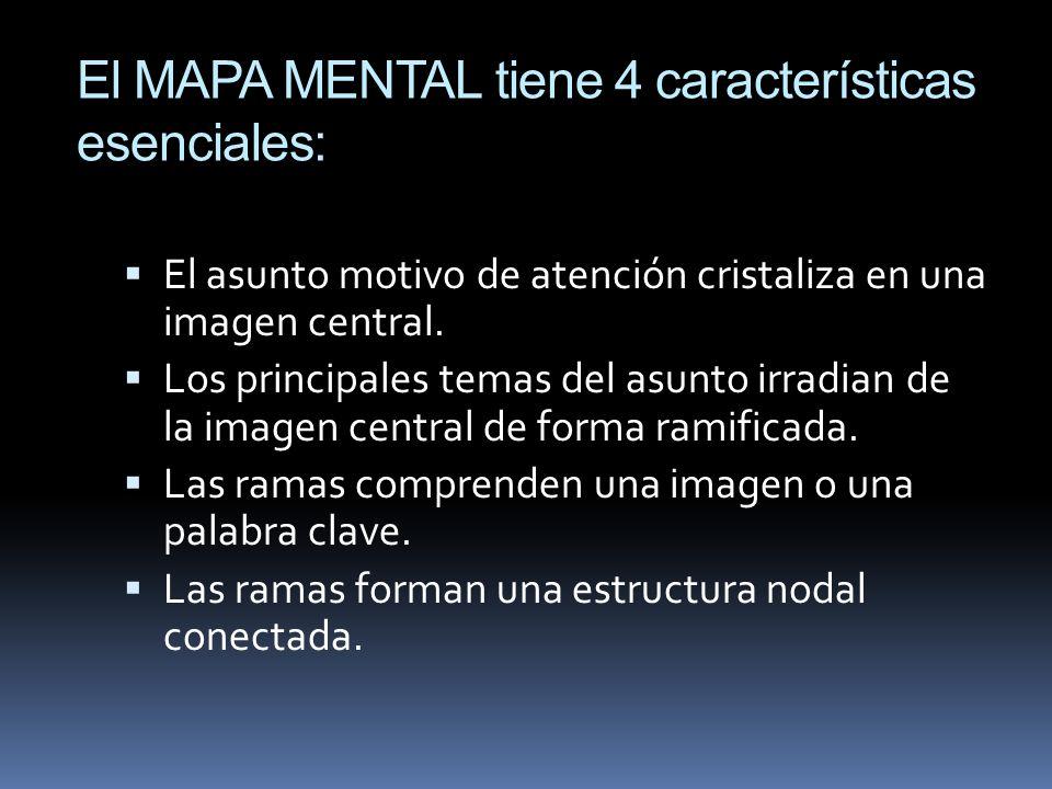 El MAPA MENTAL tiene 4 características esenciales: