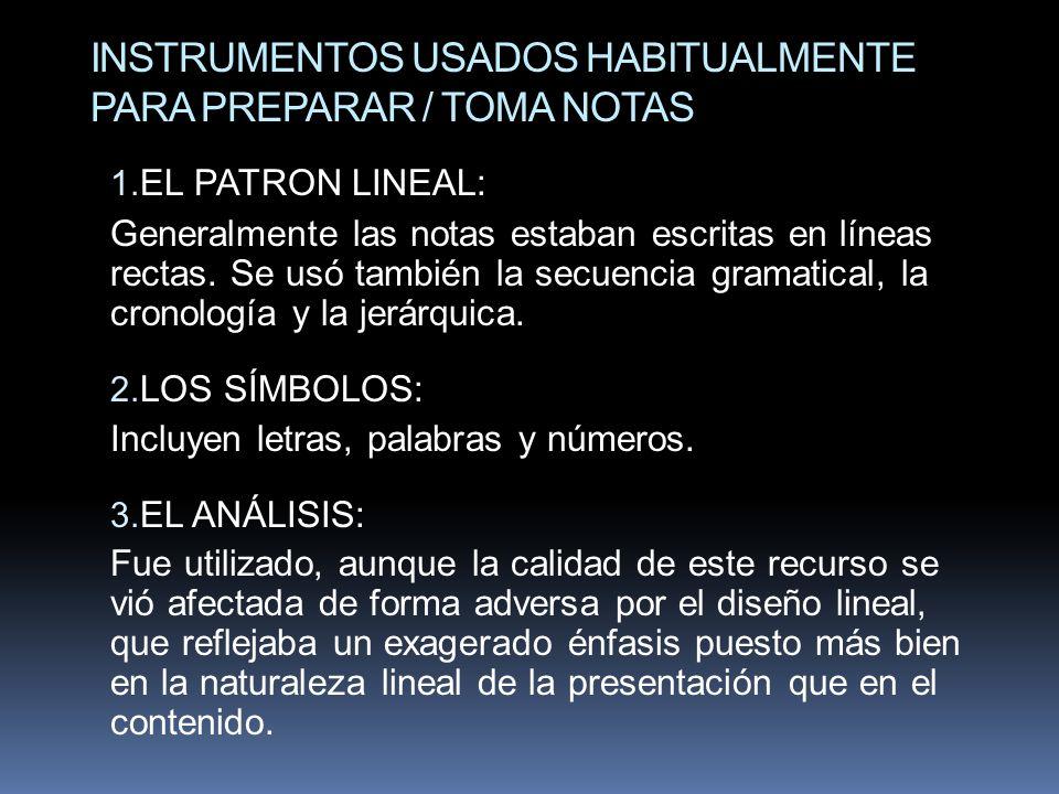 INSTRUMENTOS USADOS HABITUALMENTE PARA PREPARAR / TOMA NOTAS