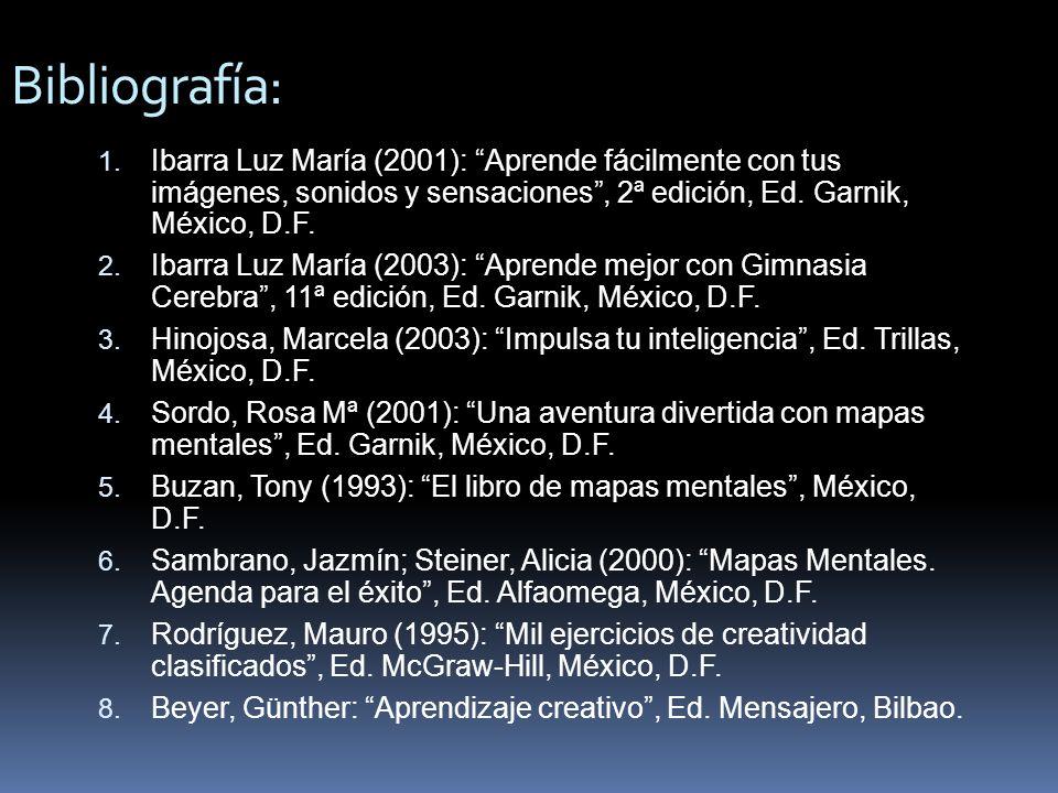 Bibliografía: Ibarra Luz María (2001): Aprende fácilmente con tus imágenes, sonidos y sensaciones , 2ª edición, Ed. Garnik, México, D.F.