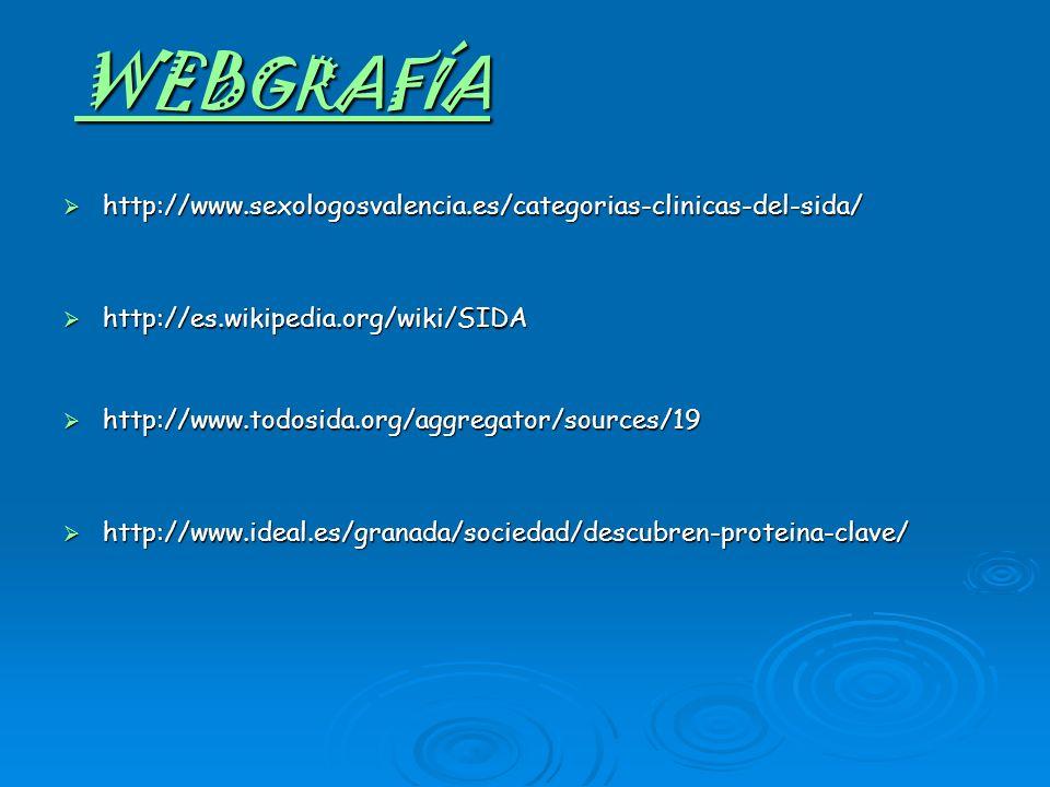 WEBGRAFÍAhttp://www.sexologosvalencia.es/categorias-clinicas-del-sida/ http://es.wikipedia.org/wiki/SIDA.