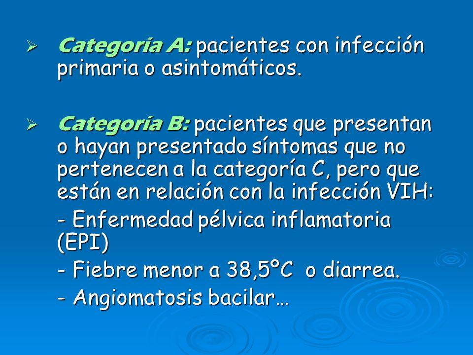 Categoría A: pacientes con infección primaria o asintomáticos.