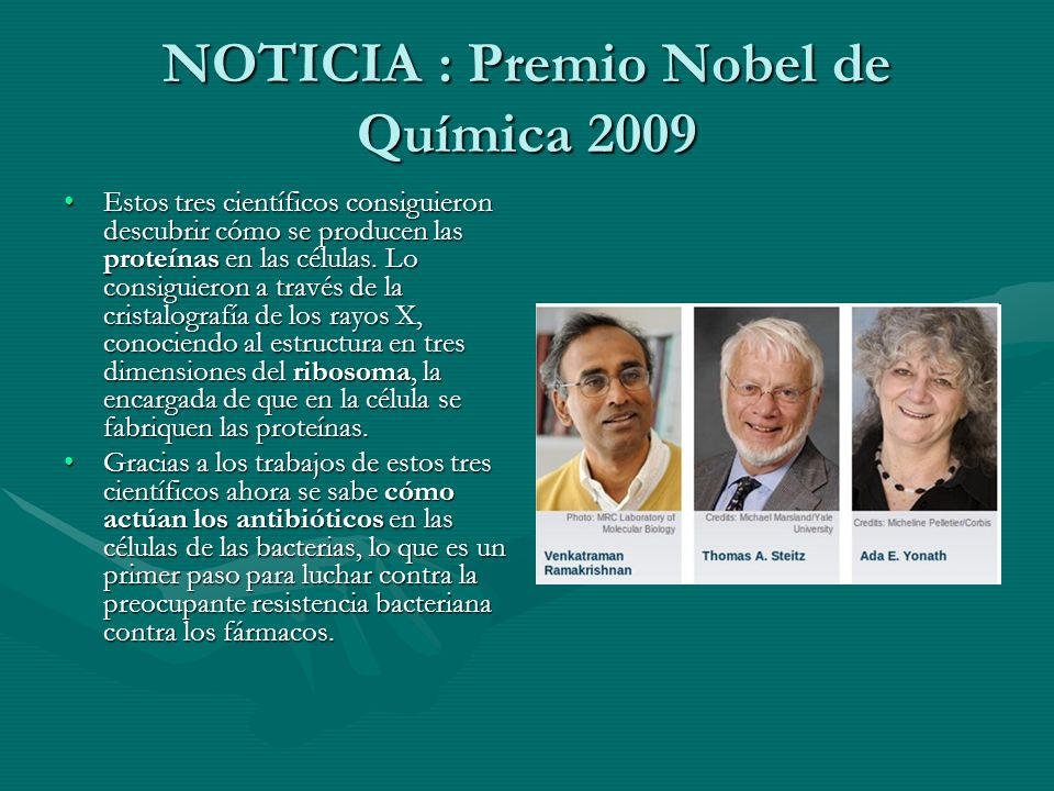 NOTICIA : Premio Nobel de Química 2009