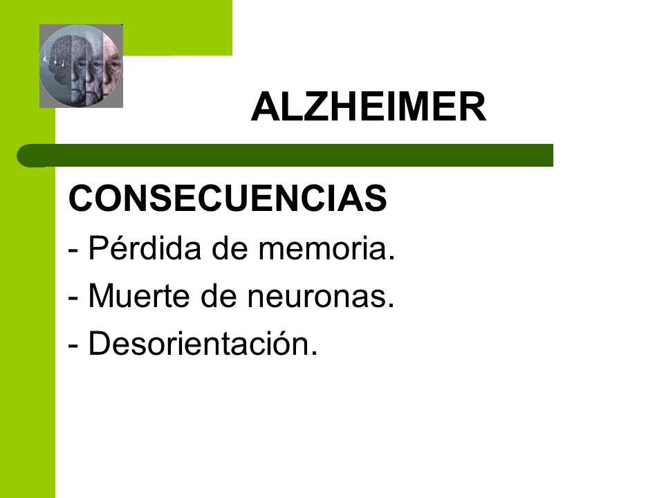 CONSECUENCIAS ALZHEIMER - Pérdida de memoria. - Muerte de neuronas.