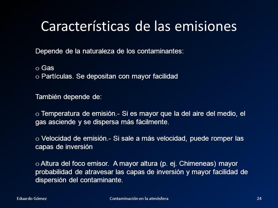 Características de las emisiones