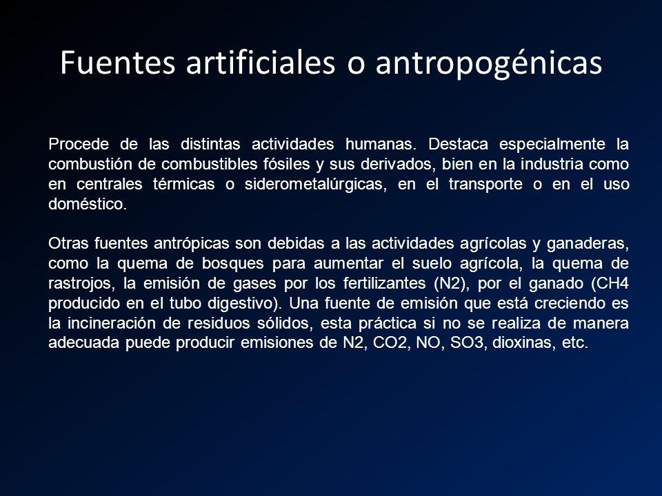 Fuentes artificiales o antropogénicas