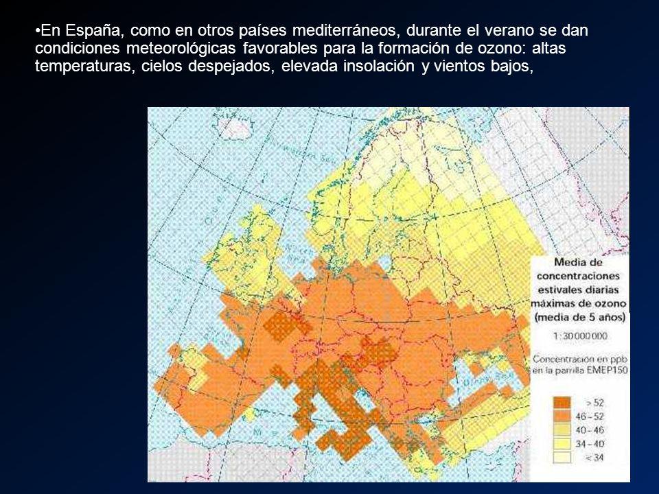 En España, como en otros países mediterráneos, durante el verano se dan condiciones meteorológicas favorables para la formación de ozono: altas temperaturas, cielos despejados, elevada insolación y vientos bajos,