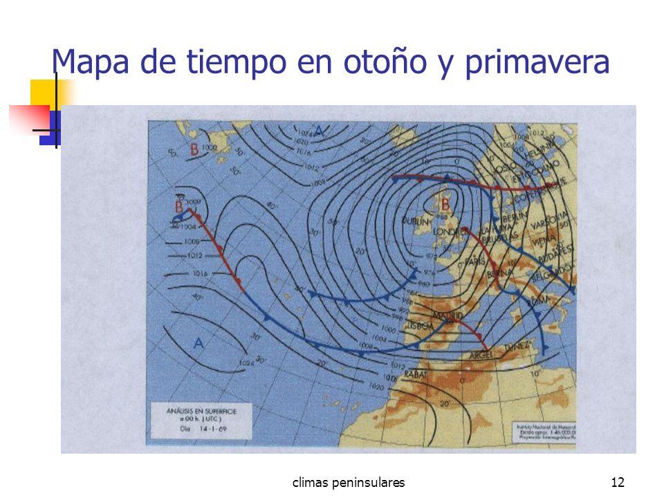 Mapa de tiempo en otoño y primavera
