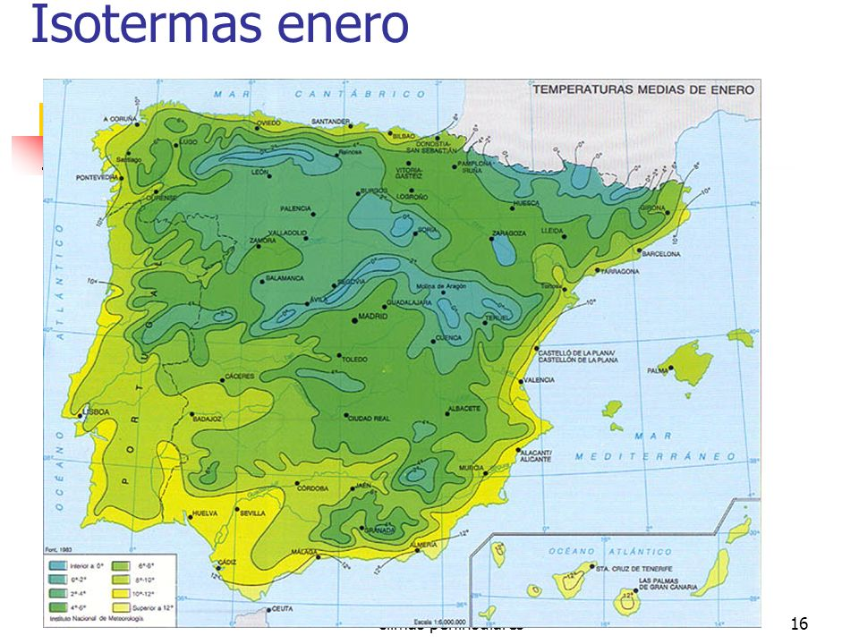 Isotermas enero climas peninsulares