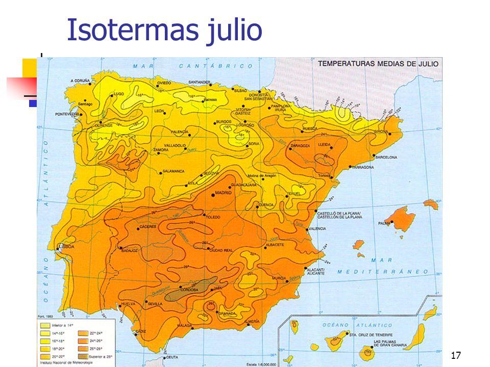 Isotermas julio climas peninsulares