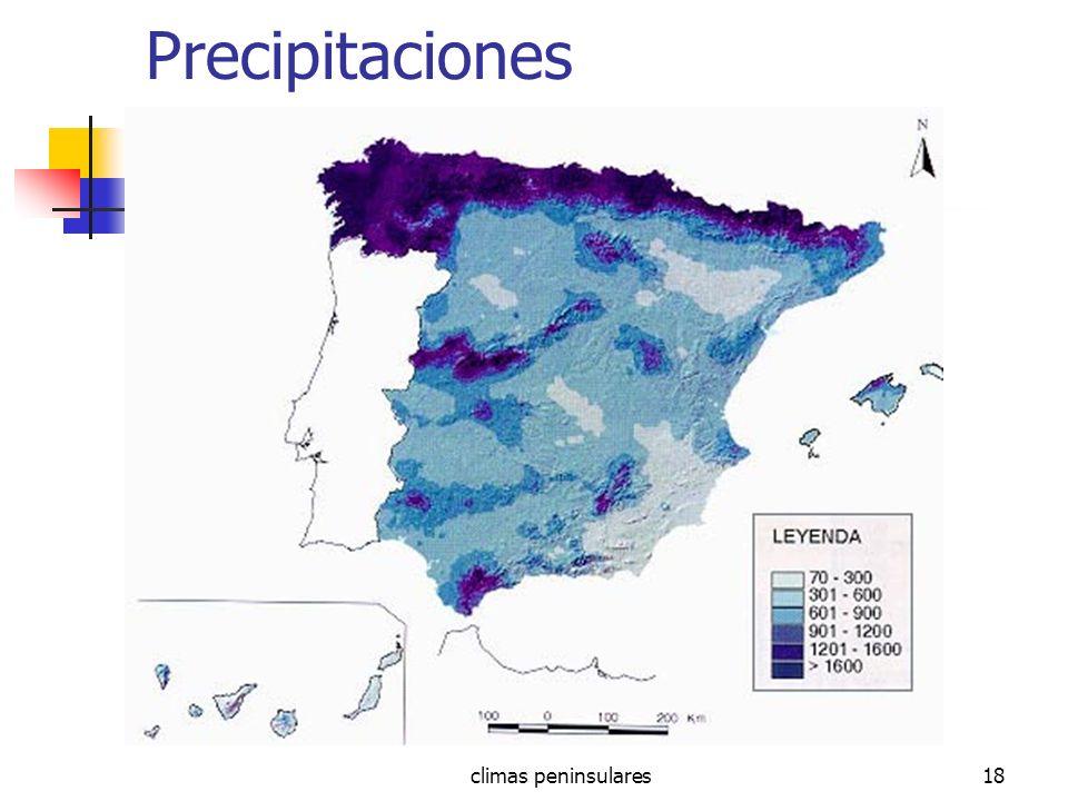 Precipitaciones climas peninsulares