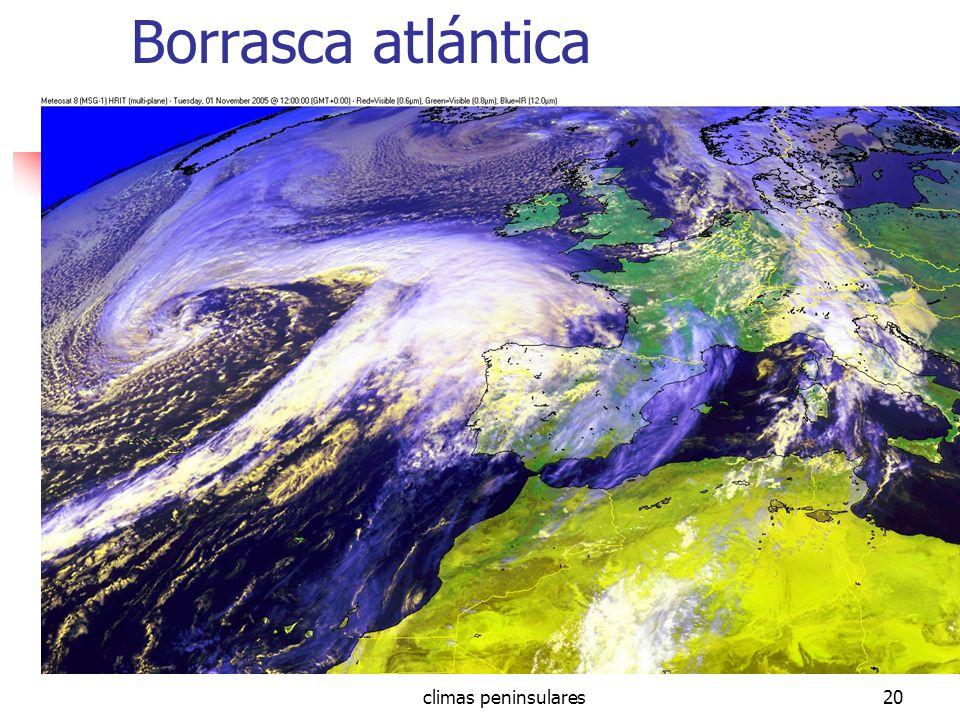 Borrasca atlántica climas peninsulares