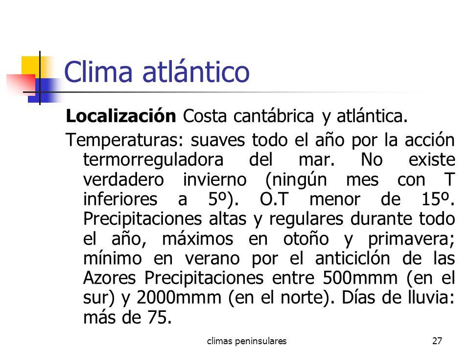Clima atlántico Localización Costa cantábrica y atlántica.
