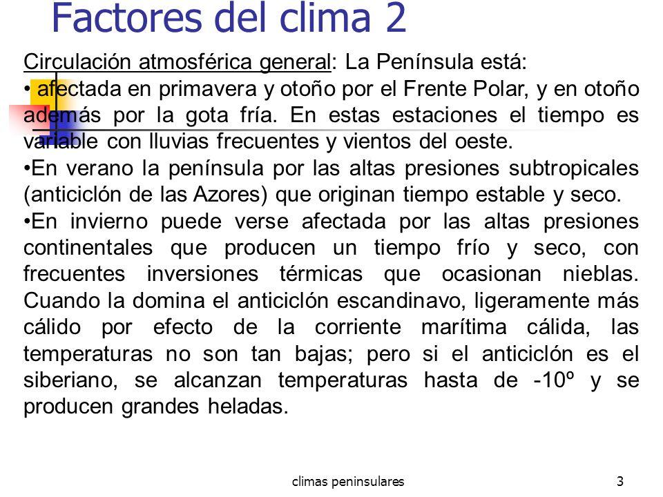 Factores del clima 2 Circulación atmosférica general: La Península está: