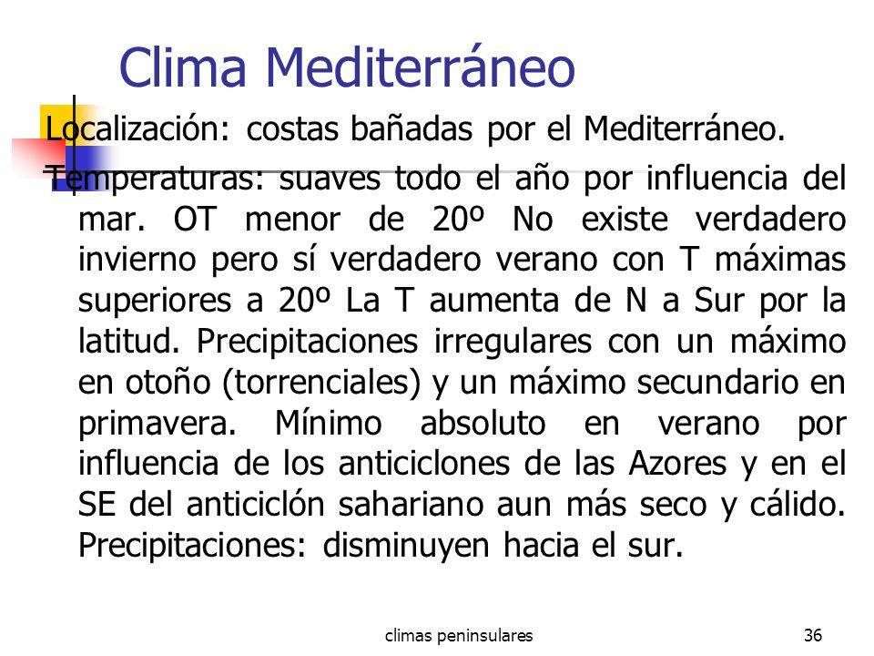 Clima Mediterráneo Localización: costas bañadas por el Mediterráneo.