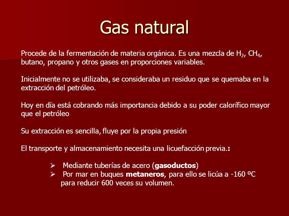 Gas natural Procede de la fermentación de materia orgánica. Es una mezcla de H2, CH4, butano, propano y otros gases en proporciones variables.