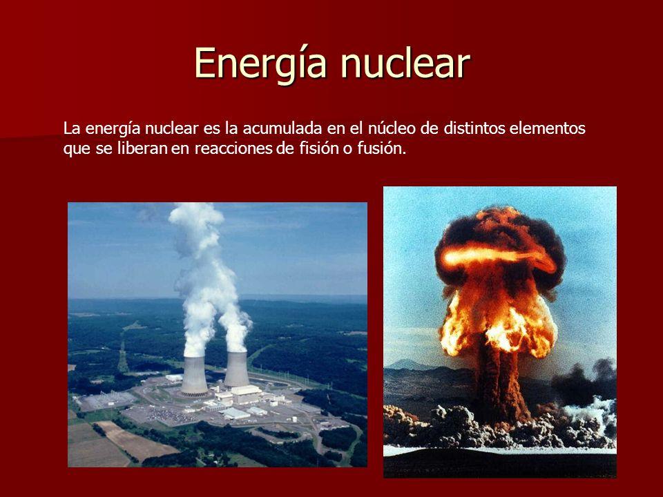 Energía nuclearLa energía nuclear es la acumulada en el núcleo de distintos elementos que se liberan en reacciones de fisión o fusión.