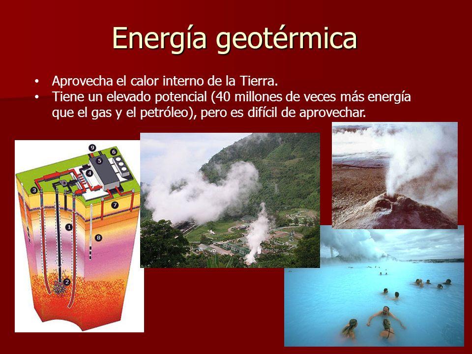 Energía geotérmica Aprovecha el calor interno de la Tierra.