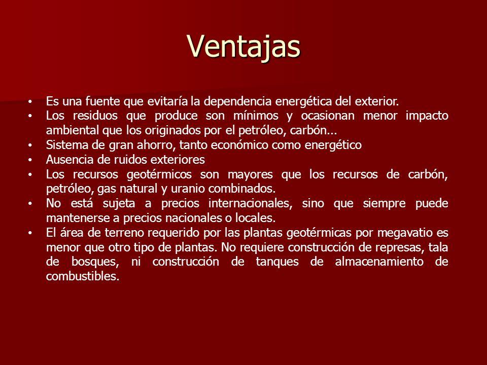 Ventajas Es una fuente que evitaría la dependencia energética del exterior.