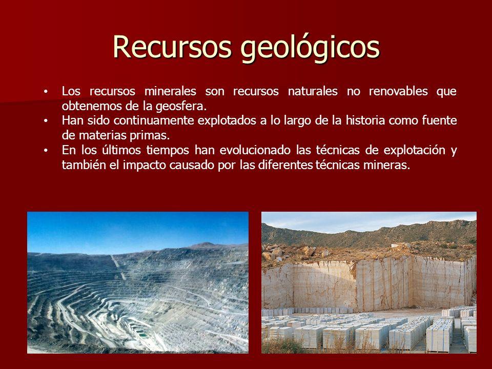 Recursos geológicosLos recursos minerales son recursos naturales no renovables que obtenemos de la geosfera.