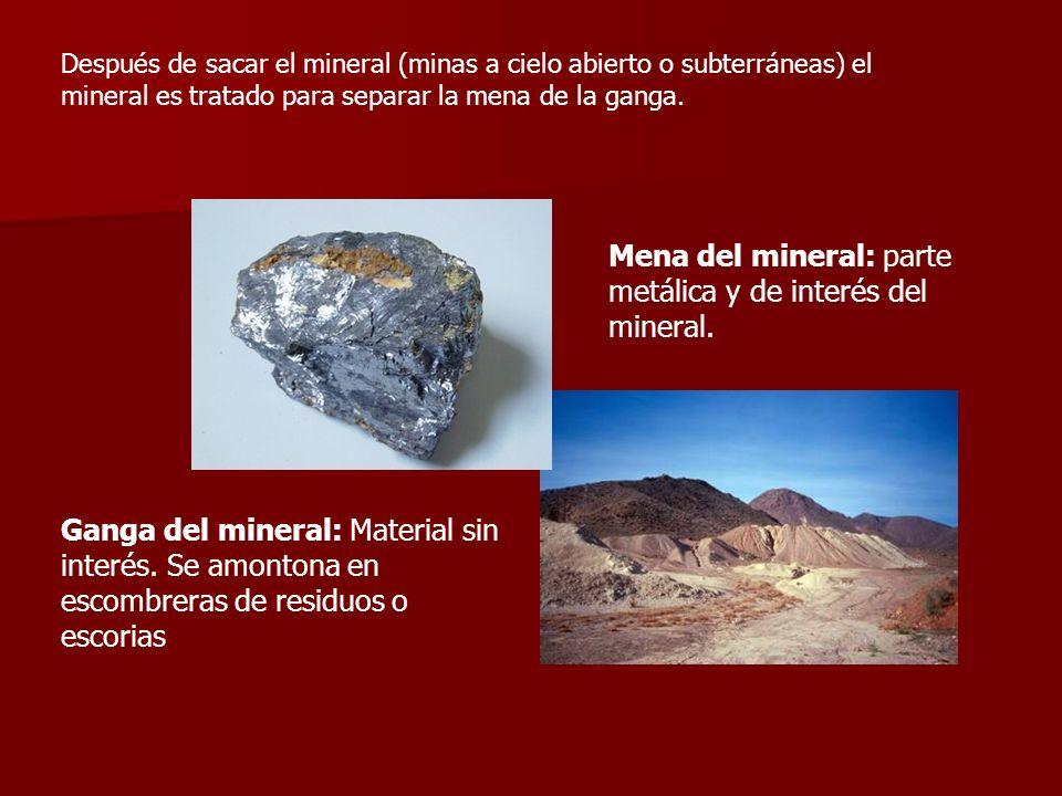 Mena del mineral: parte metálica y de interés del mineral.