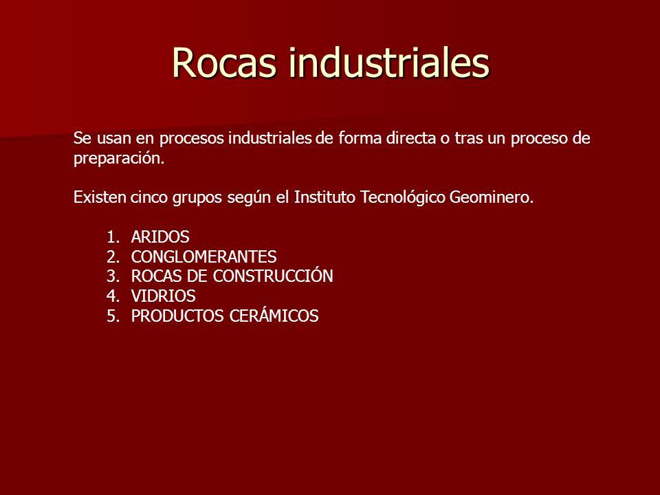 Rocas industriales Se usan en procesos industriales de forma directa o tras un proceso de preparación.