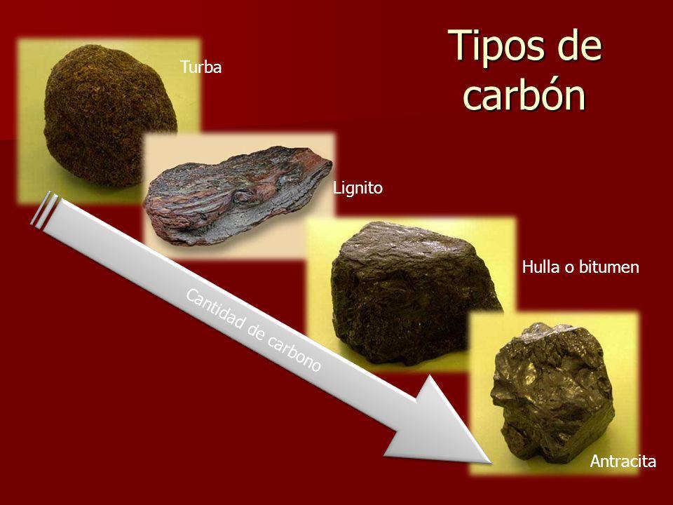 Tipos de carbón Turba Lignito Hulla o bitumen Cantidad de carbono