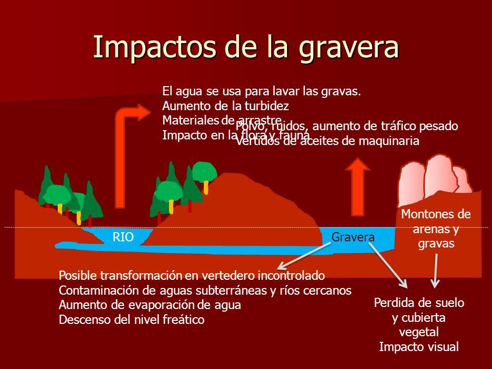 Impactos de la gravera El agua se usa para lavar las gravas.