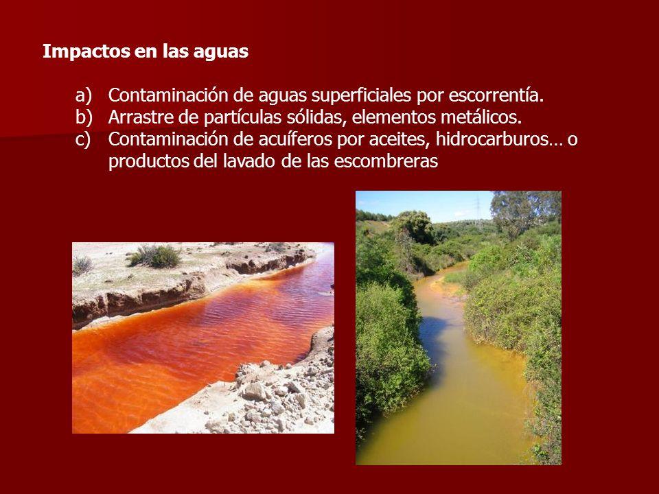 Impactos en las aguas Contaminación de aguas superficiales por escorrentía. Arrastre de partículas sólidas, elementos metálicos.
